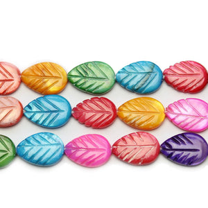 Multi Shell Carved Leaf 10x15mm Beads