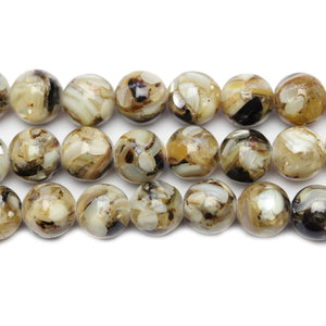Shell Resin Mosaic Round 10mm Beads at Halcraft Collection