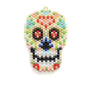 Miyuki Beaded Sugar Skull 28x40mm PendantPendant by Halcraft Collection