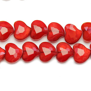 Red Glass Faceted Heart 15mm Beads