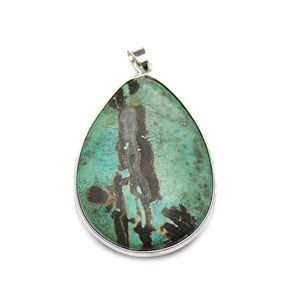 Turquoise Dyed Picture Jasper Pendant 31x45mmPendant by Bead Gallery