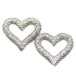 Silver Rhinestone Coated Heart 32mm Beads