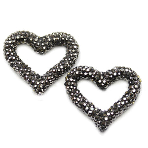 Gunmetal Rhinestone Coated Heart 32mm Beads