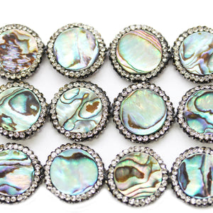 Abalone on Resin Round Lentil with Rhinestone 19mm Beads at Halcraft Collection