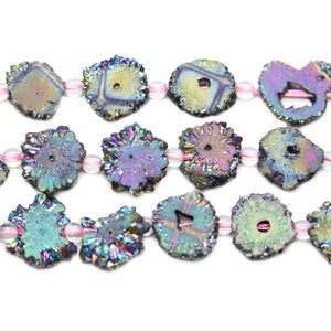 Natural Stalactite Druzy Agate Stone Rainbow Metallic Plated Bead Slices 5mm Thick x Approx 12mm WidthBeads by Halcraft Collection