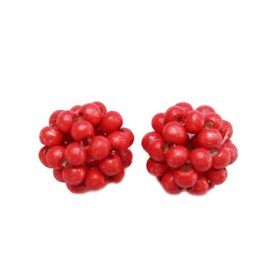 Red Dyed Wood Beaded Bead 22mm