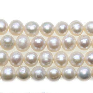 White Fresh Water Pearl Oblong Round Beads 10x12mm - Beads by Bead Gallery