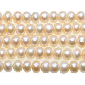 Ivory Fresh Water Pearl Rondell Beads 6x8mm - Beads by Bead Gallery