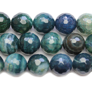 Aqua Dyed Crackle Agate Stone Faceted Round 14mm BeadsBeads by Halcraft Collection