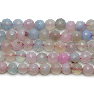 Light Dyed Agate Stone Faceted Round 8mm Beads