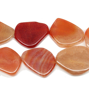 Orange Dyed Fire Crackle Agate Nugget Slice 22x30mm BeadsBeads by Halcraft Collection