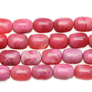 Pink Crackle Agate Barrel 14x9mm Beads - Beads by Bead Gallery
