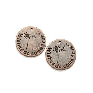 "Charm de lentejas de 20 mm ""Wishes do come true"" en tono cobre - 2 piezas de Halcraft Collection"