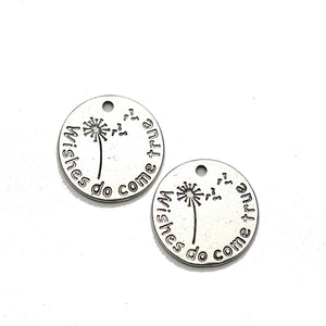 "Silver Tone ""Wishes do come true"" Lentil 20mm Charm - 2pcsCharm by Halcraft Collection"