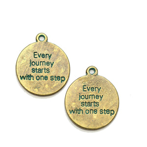"Brass Patina Plated ""Every journey starts with one step"" Lentil 21mm Charm - 2pcsCharm by Halcraft Collection"