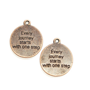 "Copper Tone ""Every journey starts with one step"" Lentil 21mm Charm - 2pcsCharm by Halcraft Collection"