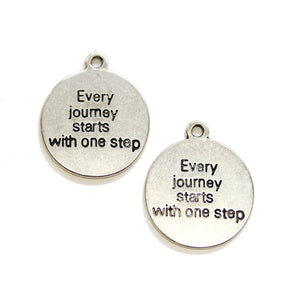 "Silver Tone ""Every journey starts with one step"" Lentil 21mm Charm - 2pcsCharm by Halcraft Collection"