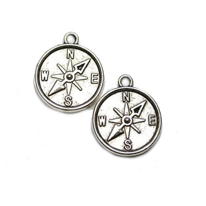Silver Tone Compass 20mm Charm - 2pcsCharm by Halcraft Collection
