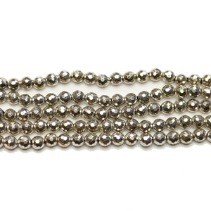 Light Gold Tone Plated Hamatine 4mm Faceted Round BeadsBeads by Halcraft Collection
