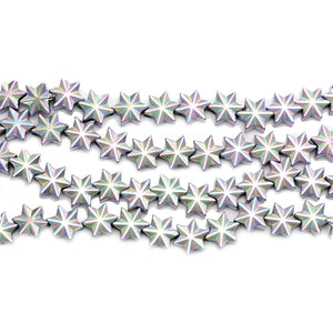 Multi Iris Coated Hematine Snowflake 8mm BeadsBeads by Halcraft Collection