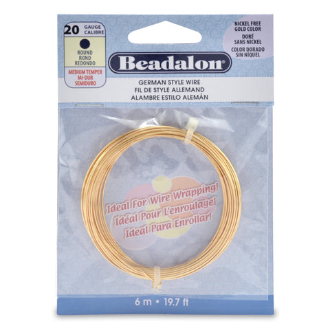 German Style Wire, Round, Gold Color, 20 Gauge (.032 in, .81 mm), 6 M (19.7 Ft)