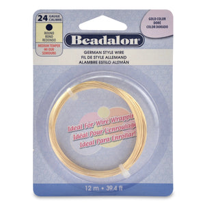 German Style Wire, Round, Gold Color, 24 Gauge (.020 in, .51 mm ), 12 M (39.4 Ft)Findings by Halcraft Collection