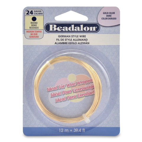 German Style Wire, Round, Gold Color, 24 Gauge (.020 in, .51 mm), 12 M (39.4 Ft)