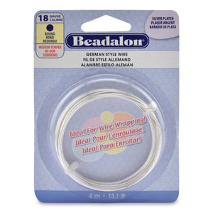 18 Gauge Gold Silver Plate Beadalon Round German Craft Wire 13ft Coil