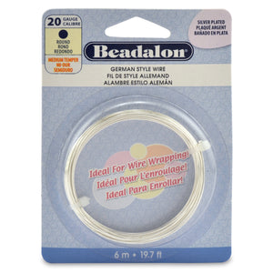 German Style Wire, Round, Silver Plated, 20 Gauge (.032 in, .81 mm), 6 M (19.7 Ft)