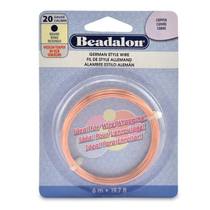 German Style Wire, Round, Copper, 20 Gauge (.032 in, .81 mm), 6 M (19.7 Ft)