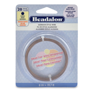 German Style Wire, Round, Antique Brass Color, 20 Gauge (.032 in, .81 mm), 6 M (19.7 Ft)