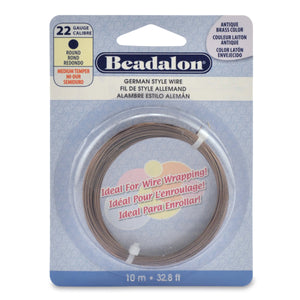 German Style Wire, Round, Antique Brass Color, 22 Gauge (.025 in, .64 mm), 10 M (32.8 Ft)