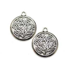 Silver Tone Floral Lentil 22mm Charm - 2pcsCharm by Halcraft Collection