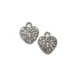 Silver Tone with Rhinestones Heart Lock 14mm Charm - 2pcsCharm by Halcraft Collection
