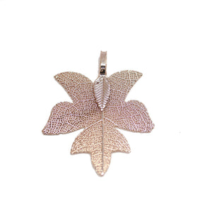 Peach Tone Plated Real Leaf Pendant 33x38mmPendant by Bead Gallery