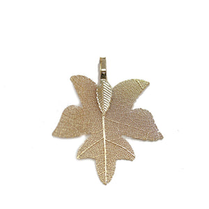 Gold Tone Plated Real Leaf Pendant 33x38mmPendant by Bead Gallery