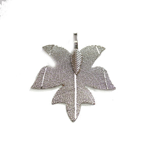 Dark Silver Tone Plated Real Leaf Pendant 33x38mmPendant by Bead Gallery