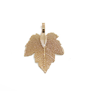 Gold Tone Plated Real Leaf Pendant 27x35mmPendant by Bead Gallery