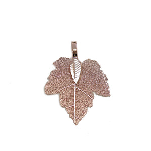 Peach Tone Plated Real Leaf Pendant 27x35mmPendant by Bead Gallery