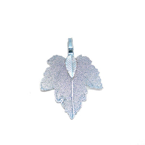 Aqua Tone Plated Real Leaf Pendant 27x35mmPendant by Bead Gallery