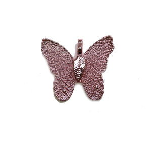 Pink Colored Real Leaf Butterfly Shape Pendant 26x30mmPendant by Bead Gallery