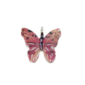Pink Mixed Colored Real Leaf Butterfly Shape Pendant 26x30mmPendant by Bead Gallery