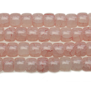 Pink Rondell Crackle 8x10mm Glass Beads - Beads by Bead Gallery