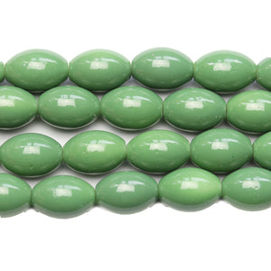 Glass Green 10x15mm Rice Beads