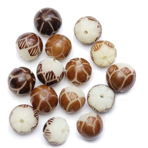 Carved Bodhi Nut Round Flower 12mm BeadsBeads by Halcraft Collection