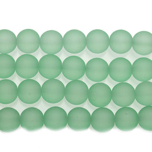 Matte Light Green 10mm Round Glass Beads - Beads by Bead Gallery