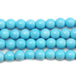 Glass Aqua Round 10mm BeadsBeads by Halcraft Collection