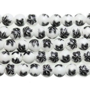 White & Black Leaf Round 10mm BeadsBeads by Halcraft Collection