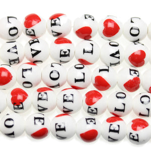 Love Ceramic Beads Round 12mm BeadsBeads by Halcraft Collection