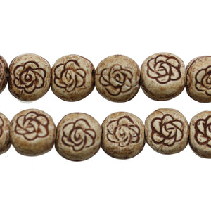 Tan Flower Design Ceramic Round Lentil 15mm BeadsBeads by Halcraft Collection